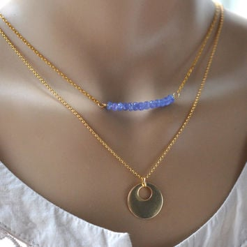 Layer Necklace Set - Boho Gold Disc and Tanzanite bead bar - Chose your length