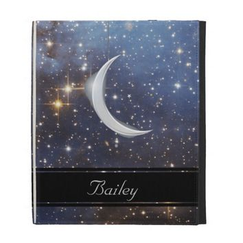 Starry Space Crescent Moon iPad Case