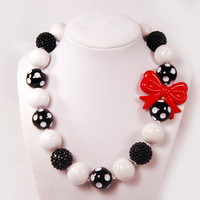 101 Dalmatians  inspired Chunky Beaded Necklace, Boutique Jewelry, Black, White and Red