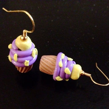 Lavender Cupcake earrings made with Sculpey clay