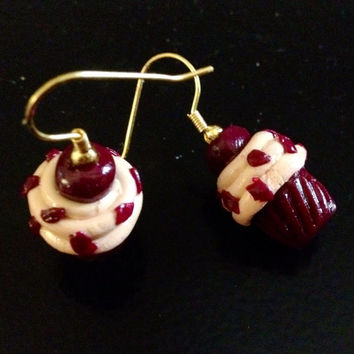 Red Velvet Cupcake Earrings made with Sculpey clay