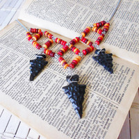 Indian Summer Sunset Colors Bead Necklace w/ Arrowheads
