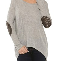Sequin Elbow Patch High Low Tunic