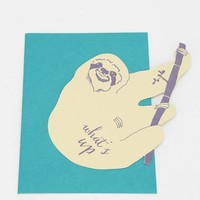 Blackbird Letterpress What's Up Sloth Cutout Card - Urban Outfitters