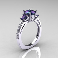 Classic French Bridal 10K White Gold Three Stone 2.0 Carat Alexandrite Diamond Engagement Ring AR112-10KWGD2AL