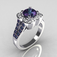 Classic 10K White Gold 2.0 Carat Alexandrite Diamond Celebrity Fashion Engagement Ring R104-10KWGD2AL