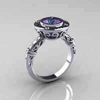 Modern Antique 10K White Gold 2.0 Carat Chrysoberyl Alexandrite Diamond Designer Engagement Ring RR131-10KWGD2AL