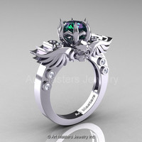 Art Masters Classic Winged Skull 14K White Gold 2.0 Ct Chrysoberyl Alexandrite Diamond Solitaire Engagement Ring R613-14KWGD2AL