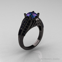 Edwardian 14K Black Gold 2.0 Ct Chrysoberyl Alexandrite Black Diamond Engagement Ring R001-14KBGBD2AL