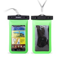 "DandyCase Neon Green Waterproof Case for Apple iPhone 5, Galaxy S4, HTC One, iPod Touch 5 - Also fits other Large Smartphones up to 5.3"" Including Galaxy S3, HTC One X/X+, Droid RAZR/MAXX, Nexus 4, EVO 4G LTE, Droid Incredible, LG Optimus G, Nokia Lumia, D"