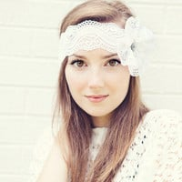 White Lace Headband with Flower