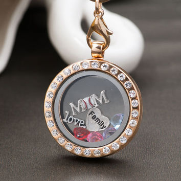 30MM Round Crystal Floating Charms Glass Living Memory Locket Necklace Chain A01