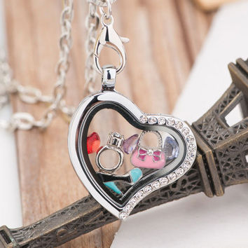 Heart Shape Living Memory Locket Love Birthstones Chain Necklace with Charms A01