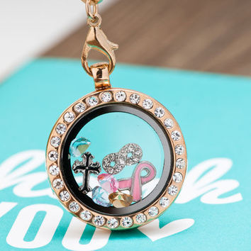 Vintage Gold P Crystal Living Locket Birthstones Cross Charms Chain Necklace A01