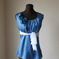Indigo Pleated Shirt Evening Satin Cocktail Party Cap Sleeve Romantic Summer Fashion Blue  Pequena  Goodsmiths