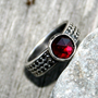 Deep Red Rose Cut Garnet Sterling Silver Ring by Decadence2Jewelry