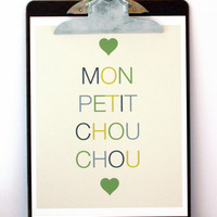 $5.00 SALE Mon Petit Chou Chou Print in Green by Gingiber on Etsy