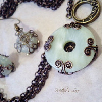 SALE New Jade Filigree Amulet with matching by DreamingWhimsies