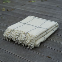 Alpaca Wool Throw Ivory Emilio