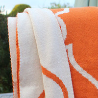 Orange And Cream Throw, Reversible