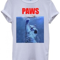 Paws Cat Kitten Meow Parody Cool Funny White Men Women Unisex Top T-Shirt