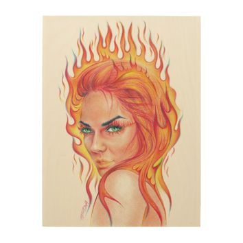 """Fire""-woman surreal portrait art Wood Canvas"