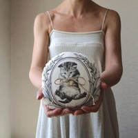 Wedding ring pillow cat painted kitten woodland wedding vegan ring bearer rustic ring pillow bearer