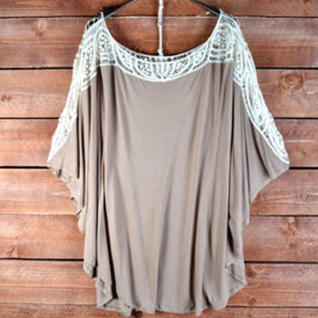 Morning Mocha Crochet Trim Tunic