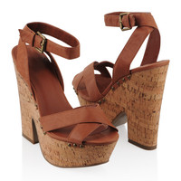 Wrap Ankle Cork Sandals | FOREVER21 - 2000046640