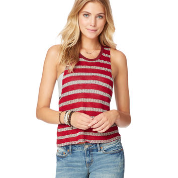 Sheer Striped Knit Tank