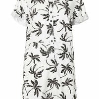 Palm Tree Print Shirt Dress - Cream