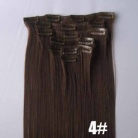 22'' Dark Brown Long Straight 7/12 Piece Full Head Clip in Hair Extension Extensions 4# (22inch 7pcs 95g)