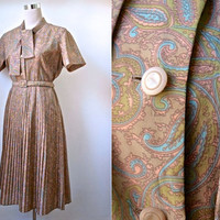 1950's Paisley Dress - Pale Brown, Green And Blue Vintage Dress - Button Down Front, Scarf Neck & Pleated Skirt