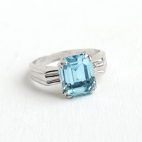 Vintage Sterling Silver Simulated Aquamarine Ring - 1940s Art Deco Size 6 Hallmarked Uncas Light Blue Emerald Cut Rhinestone Jewelry