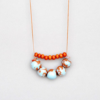 Blue And Orange Necklace,Ceramic And Wood Necklace