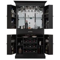 Arianna Black-stain Home Bar Wine Cabinet/ Corner Server