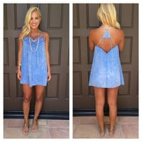 Solana Embroidered Chambray Tunic Top - BLUE