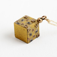 Antique Floral Box Fob Necklace- Late 1800s Rose Gold Filled Victorian Square Pendant Flower Jewelry
