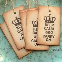 KEEP CALM and Carry On - Hand Stamped Hang Tags  Sweetly Scrapped  Goodsmiths