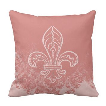 French Fleur de Lis Coral Damask Pillow