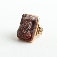 Antique 10k Rose Gold Cameo Ring - Vintage Victorian Late 1800s Size 4 Carved Hardstone Roman Soldier Warrior Fine Jewelry