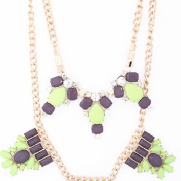 Lime Green & Grey Jeweled Necklace