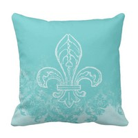French Fleur de Lis Aqua Damask Pillow
