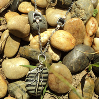 Canadian river stone necklace by Tarikajewellery on Etsy