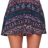 LA Hearts Ethnic Span Skater Skirt - Womens Skirt - Multi -