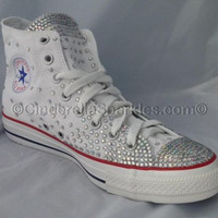 White Chuck Taylor High Top Crystal Rhinestone Converse Bridal Prom Romany Shoes Sparkle