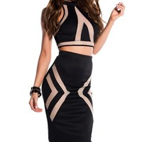 Sexy Black and Nude Mesh Turtleneck Two Piece Dress Set