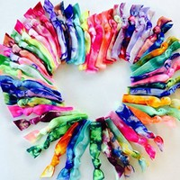 50 Tie Dye Hair Tie Ponytail Holder Collection Exclusively by Elastic Hair Bandz