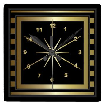 Classy Black and Gold Striped Wall Clock