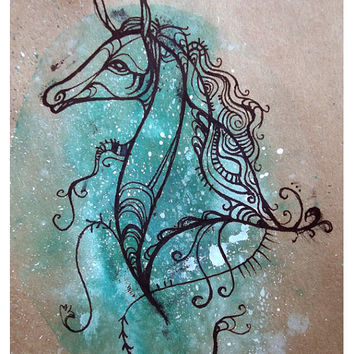 Original Horse Drawing - Framed Ink Drawing. Horse Painting, Horse Art, Pony Art, Horse Sketch, Animal Art, Animal Drawing, Turquoise, uk